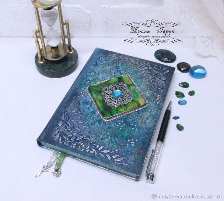 """Купить Ежедневник """"Изумрудная мечта"""" - Декупаж, голубой, ежедневник, подарок, подарок девушке, подарок на новый год"""