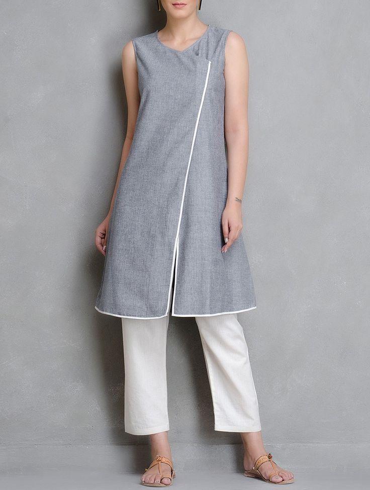 Buy Grey Ivory Asymmetrical Front Open Chambrey Kurta Cotton Women Kurtas Woman Divine Contemporary and Tunics Online at Jaypore.com