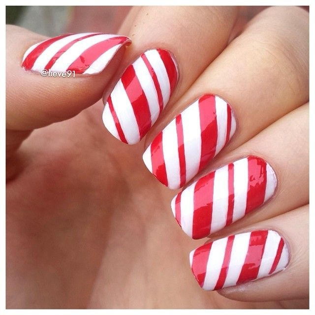 simple lines candy cane nail polish for 2014 christmas