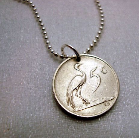 Coin Bracelet  Cute little coin  South Africa by FindsAndFarthings, $10.95   a heron!