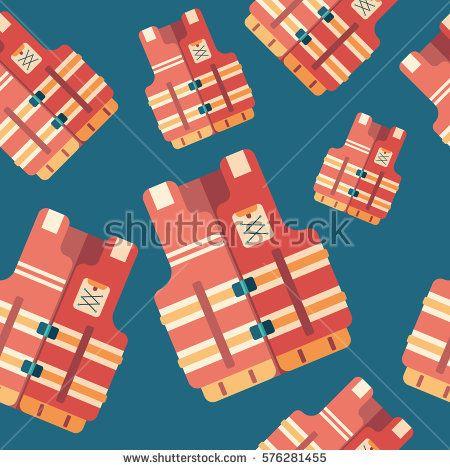 Life vest flat icon seamless pattern. #summerpatterns #vectorpattern #patterndesign #seamlesspattern