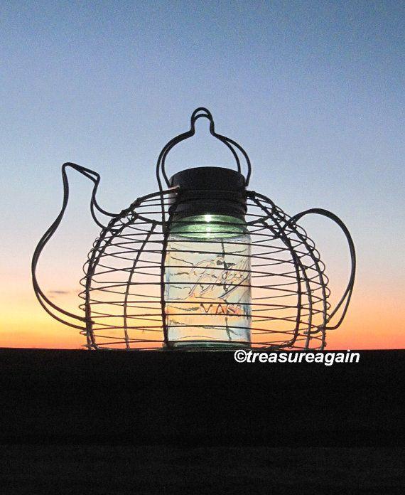 Teapot Mason Jar Solar Light Vintage Blue Ball Jar And