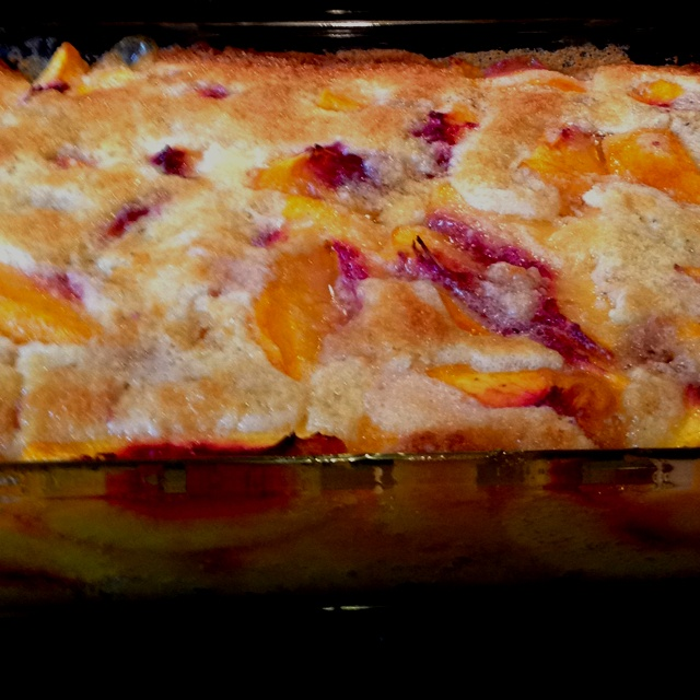 Easiest Cobbler Ever. 1 stick butter, 1 cup bisquick, 1 cup sugar, 1 cup milk, 3-4 cups fruit (peach is my fav). Put butter in a 8x8 pan put in oven to melt as oven heats to 350. Mix dry ingredients. Stir in milk just until combined. When oven is hot and butter is melted pour batter into pan over butter. Pour fruit on top, move around so fruit is evenly spread. Bake for 45 min. Doubles easily in a 13x9 pan for a large group.