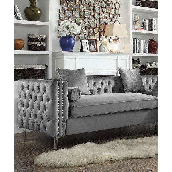 Iconic Home Gray Tufted Nail Head Michelangelo Velvet Sectional Sofa ($1,000) ❤ liked on Polyvore featuring home, furniture, sofas, button tufted sofa, velvet tufted sofa, grey velvet sofa, velvet couch and grey tufted sofa