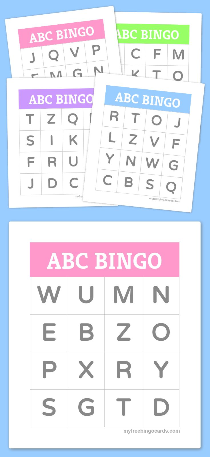 Free Printable ABC Bingo Cards for kids - great for letter recognition for preschool and kindergarten.