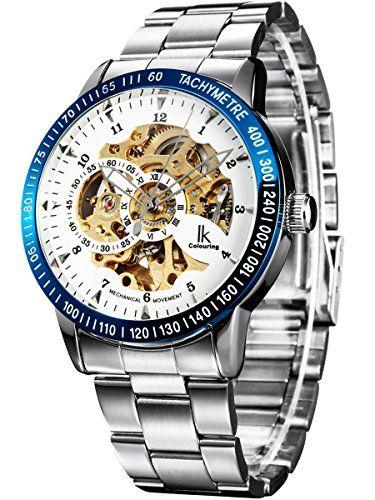 Alienwork IK mechanische Automatik Armbanduhr Skelett Automatikuhr Uhr weiss silber Edelstahl 98226-15 - http://on-line-kaufen.de/alienwork/alienwork-ik-mechanische-automatik-armbanduhr-3