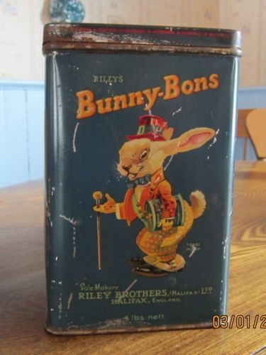 Rare-Early-1920s-Rileys-Bunny-Bons-Toffies-4-lb-Hinged-Lid-Tin-Good-Graphics