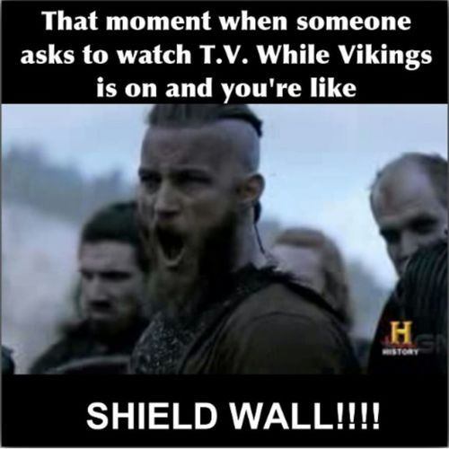 "'Vikings' - ""SHIELD WALL!!!!"" Do not interrupt Ragnar obsession or I shall hold the heathen hammer high."