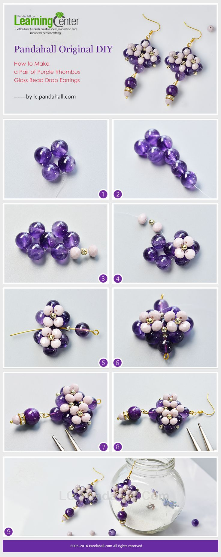 Pandahall Original DIY - How to Make a Pair of Purple Rhombus Glass Bead Drop Earrings