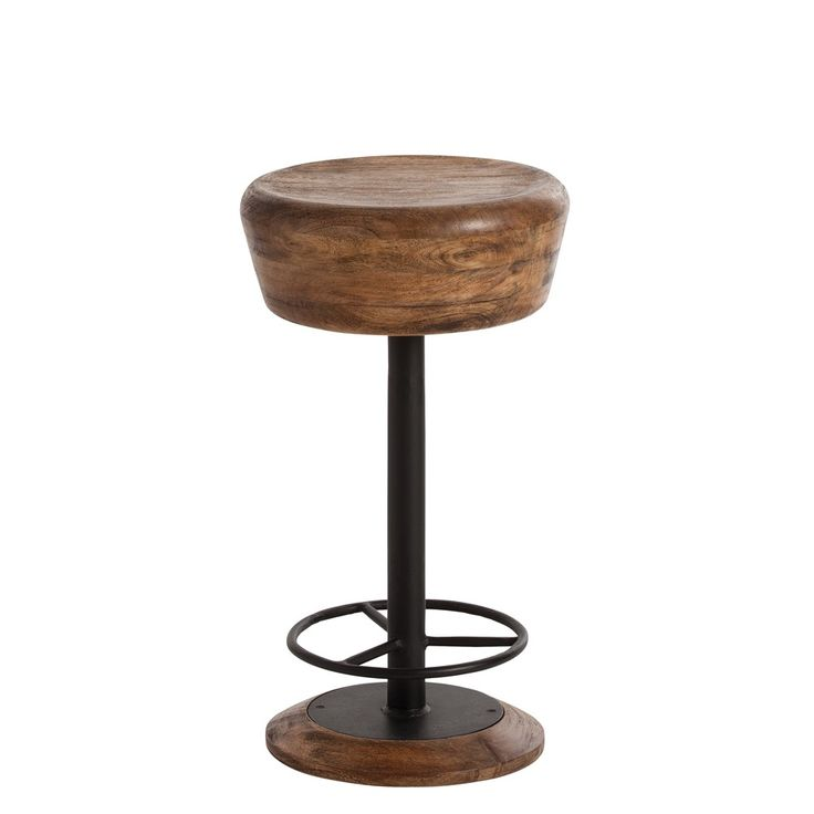 this wonderfully simple counter u0026 bar height stool features a natural iron frame and a solid natural wood seat wood color and texture will vary