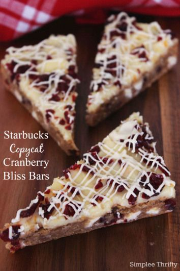Starbucks Copycat Cranberry Bliss Bars Recipe---revise for allergies