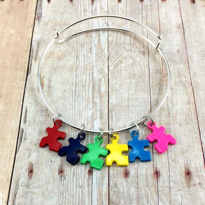 Autism Charm Bracelet, Autism Bangle Bracelet, Puzzle Piece, Autism Awareness, Autism Bracelet, Puzzle Bracelet, Autism Mom, Autism Gift