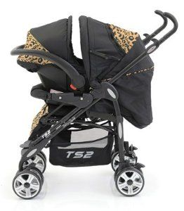 black stroller with cheetah print accents