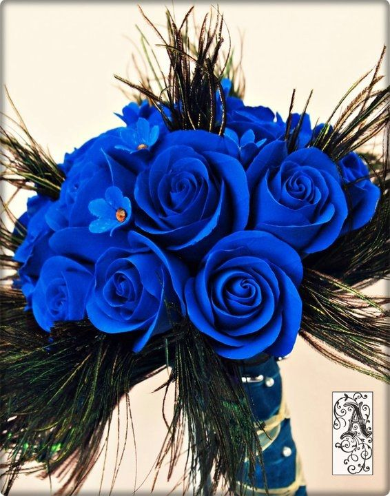 KeepsakeBlossoms: Blue Rose Bouquet with Peacock Feathers