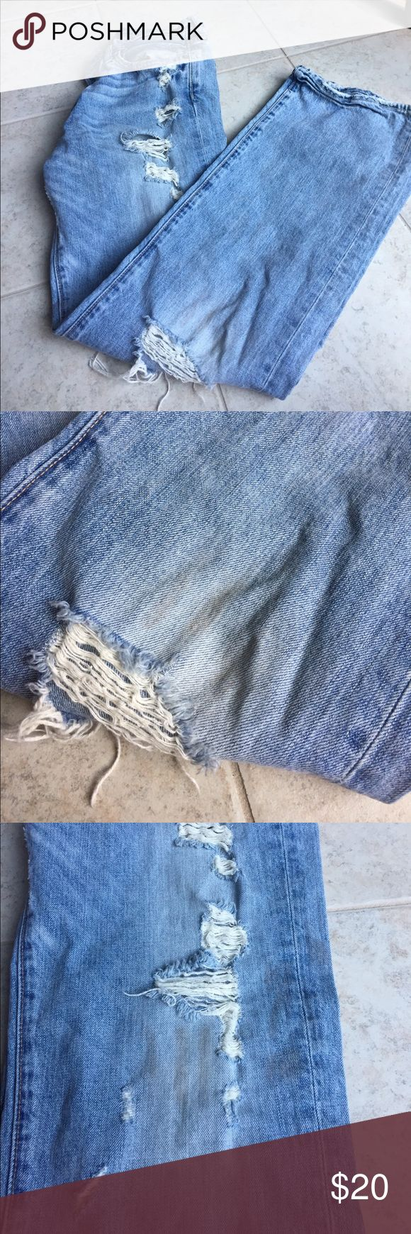 """Abercrombie and Fitch Distressed Jeans Selling on behalf of my brother. As seen in 2nd & 3rd photo the jeans are naturally distressed. They have the same 3 """"dirt"""" lines on both the right and left leg. Size 32X34. Kilburn Low Rise Boot Cut. Abercrombie & Fitch Jeans Bootcut"""