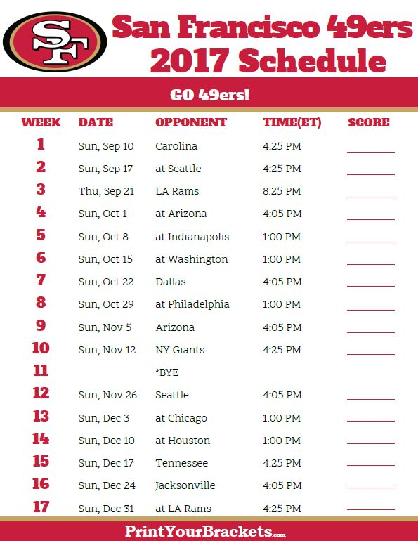 2017 San Francisco 49ers Football Schedule