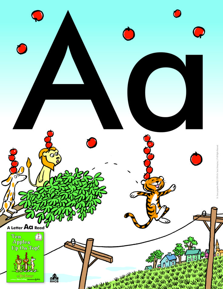 Letter Aa Card - print out and use to start a bulletin board display or letter collage.  An Amazing Letter Aa read is TEN APPLES UP ON TOP!