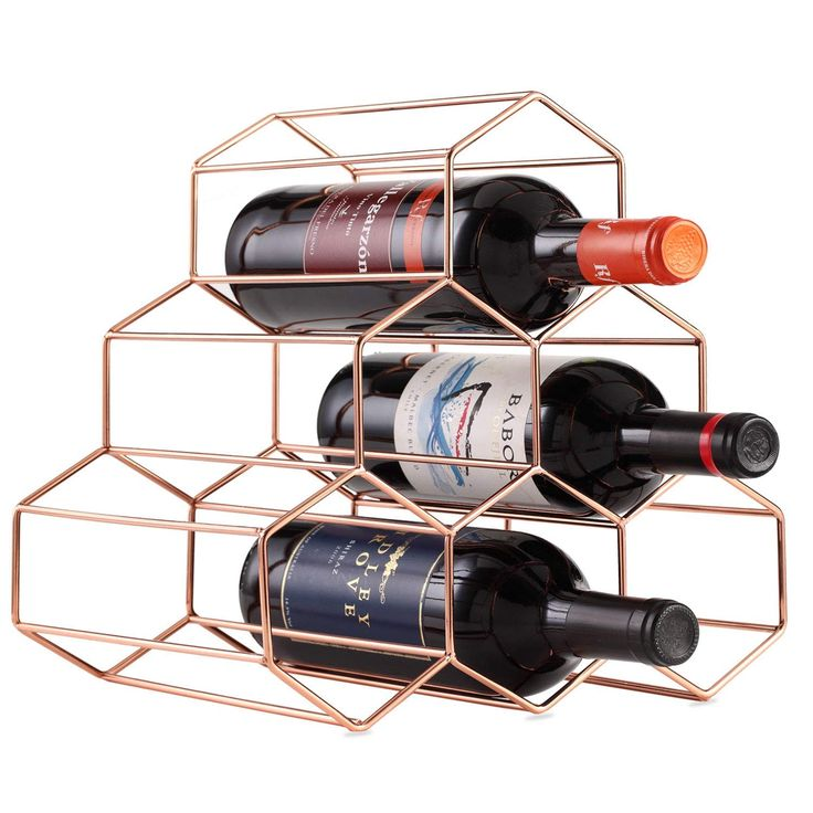 Buruis 6 Bottles Metal Wine Rack Countertop Free Stand Wine