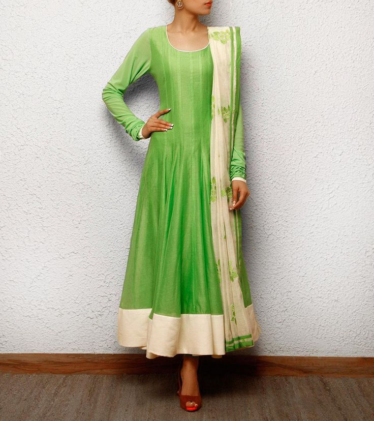 Green Chanderi Anarkali Suit | by Sanskriti