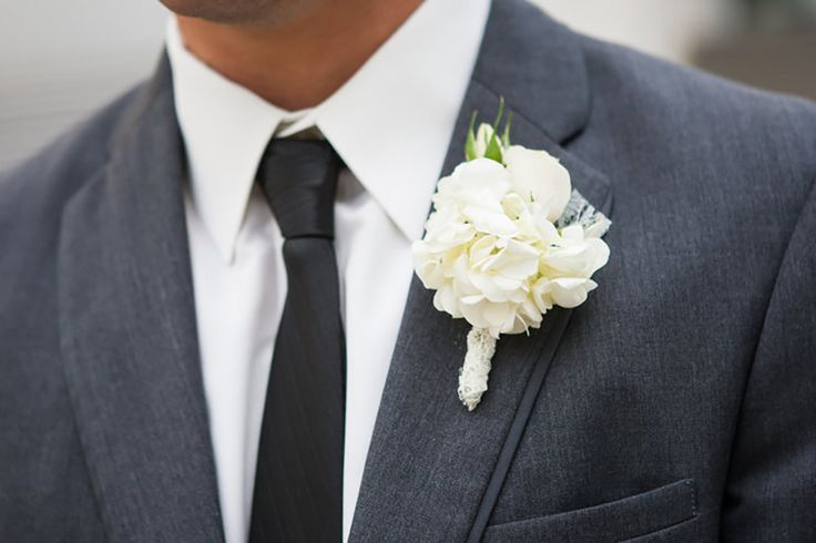 The Groom Wore White Hydrangea Boutonniere