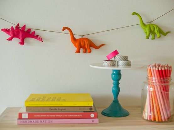 These 8 ways to express dinosaur appreciation in your home could totally be applied to your WEDDINGASAURUS.: Dinosaurs Garlands, Neon Dino, Ideas, Plastic Animal, Neon Animal, Diy Crafts, Parties, Kids Rooms, Dino Garlands