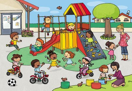 Playground scene for describing and Wh- questions