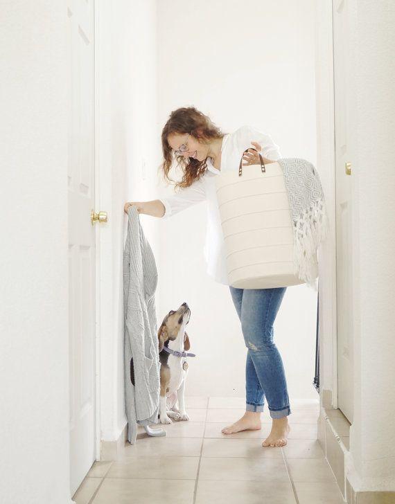 Off white laundry hamper. Large storage basket. Scandinavian home design decor