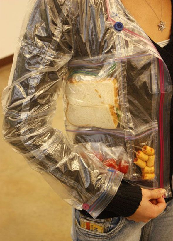 Jacket Made Entirely of Ziploc Sandwich Bags and Filled With Snacks..my boys would loveee this