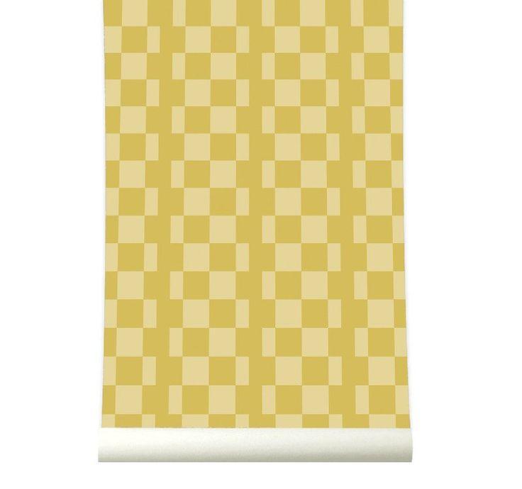 Behang Retrosquare Mustard