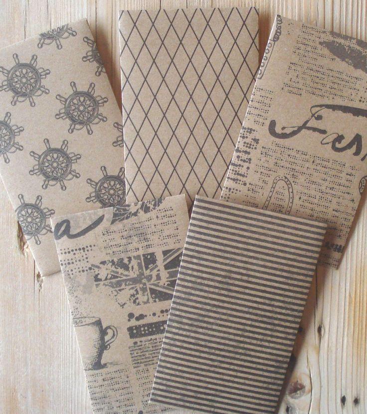 Cadeau envelopjes, set van 5, 10 x 6 cm, papier, handgemaakt, kraft papier, bruin (a) by LabelsAndMore on Etsy