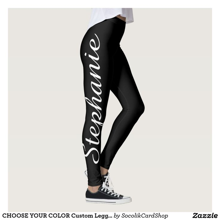 CHOOSE YOUR COLOR Custom Leggings with Name - CHOOSE YOUR COLOR custom leggings! Printed edge to edge, with your name in large dark purple script up one leg! Sample is pale purple but you can easily customize to color of your choice. Also easy to change or delete example text. All Rights Reserved © 2016 Alan & Marcia Socolik.