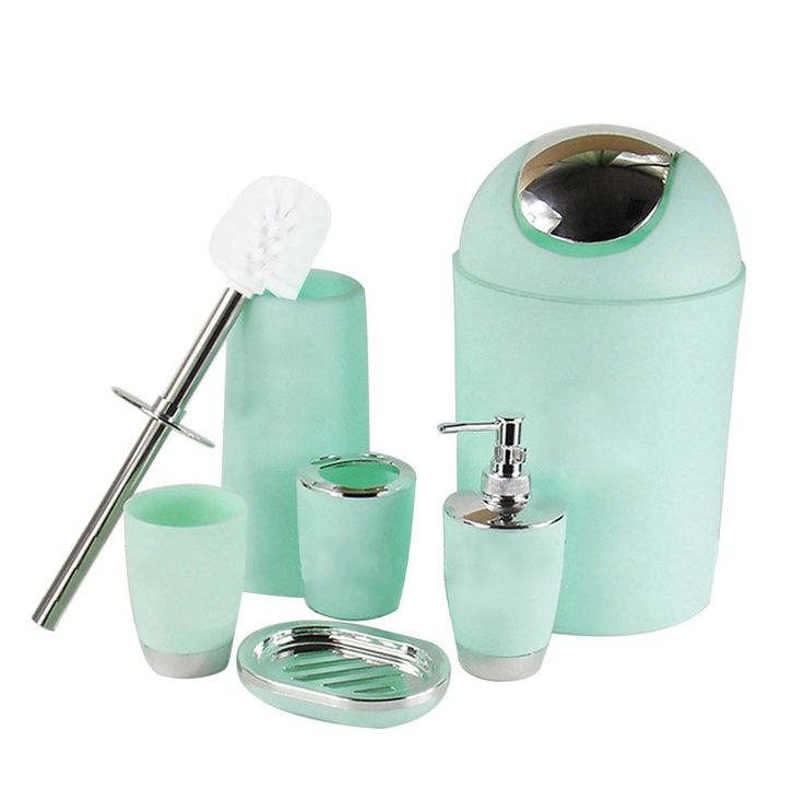 Amazon.com: 6 Piece Bathroom Accessories Set,Plastic Bath Ensemble Bath Set Lotion Bottles, Toothbrush Holder, Tooth Mug, Soap Dish, Toilet Brush, Trash Can,MintGreen: Home & Kitchen