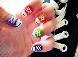 Cute nails that look like converse shoes!!!