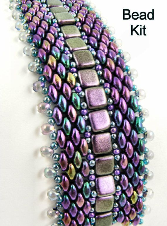 Bead Kit - Purple Iris Well-Traveled Superduo and 2-hole Tile Beadwoven Bracelet