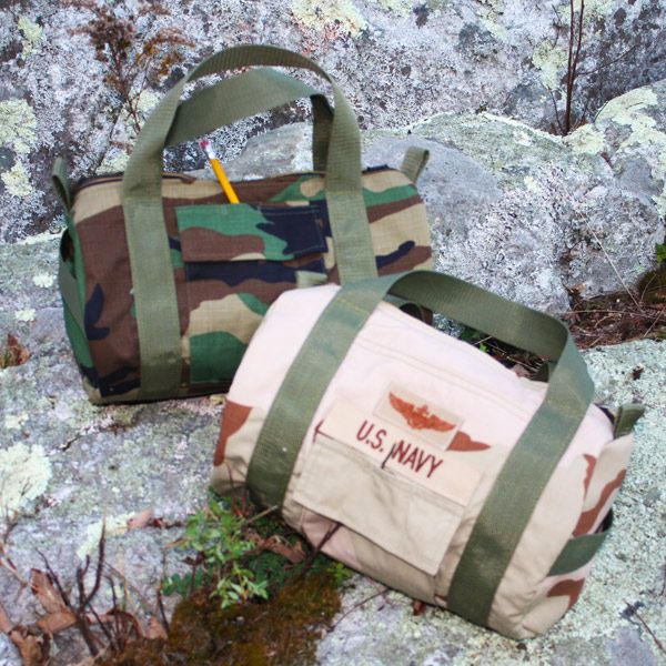 repurposed military uniform - mini duffle, Not sure if this would be frowned upon, but neat idea to give your kids..bags out of mom/dad's old uniform!