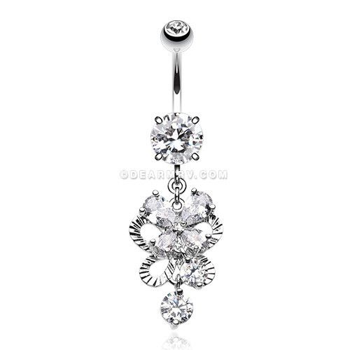 46 best belly button rings images on pinterest belly button exuberant chandelier belly button ring clear mozeypictures Gallery