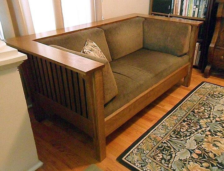 Simply Amish - Quarter-sawn White Oak Prairie-style Love Seat - Sage Green Upholstery - Mission - Craftsman - Bungalow