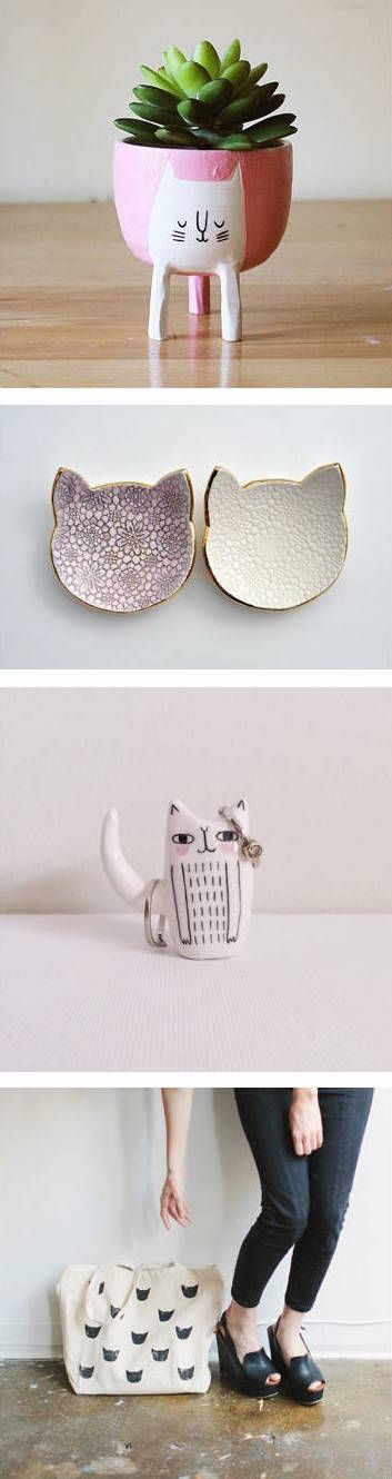 Today's post is for all the cat lovers out there! Ridiculously cute bags, bowls, pendants and more on the blog today: http://www.artisticmoods.com/cats-in-crafts/
