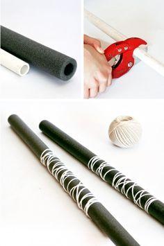 doppelschwert basteln at OneCharmingParty.com #tutorial #ninjaparty #ninjaweapons