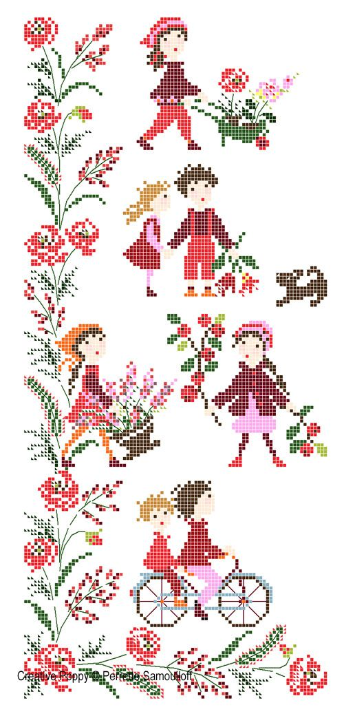 Red Poppy Banner cross stitch pattern by Perrette Samouiloff