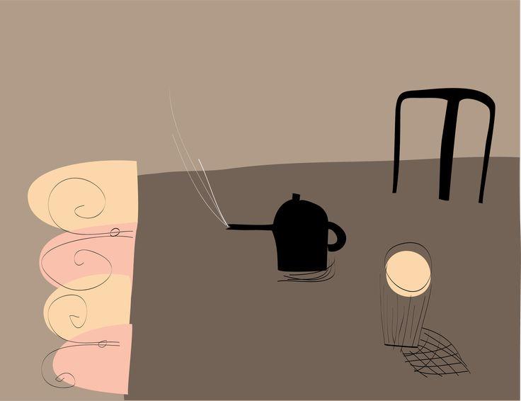 Tea and Sympathy. Peter Bainbridge. Silk screened on handmade paper.