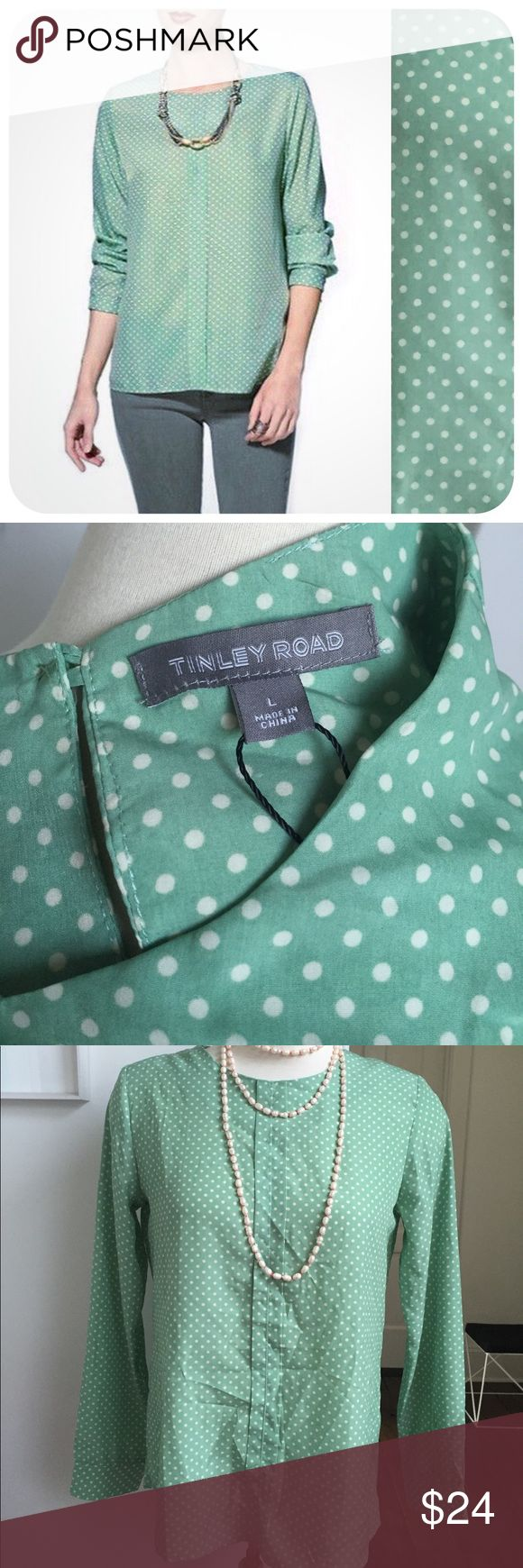 "{{ Tinley Road }} Piperlime Mint Green Dot Blouse Gorgeous, new with tags, Tinley Road size Large silky blouse. Lovely light mint green color, with cream small polka dot pattern.  Beautiful option for work or a night out. Would be really cute with some tailored black shorts and black strappy sandals for a casual look!  Measurements: Length - 26""  Bust - 21"" (measured lying flat) Waist - 21"" (measured lying flat) Tinley Road Tops Blouses"