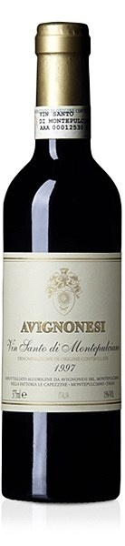 Avignonesi Vin Santo di Montepulciano DOC 1998 - A rich amber coloured wine with an extremely intense and persistent bouquet. Layers of dried fruit, rose petals, tea leaves, exotic spices and vanilla blend together creating a full-bodied, sweet, and thoroughly unique taste.