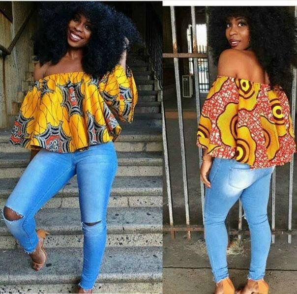 Love, love this off the shoulder Ankara top on the rip denim jeans…