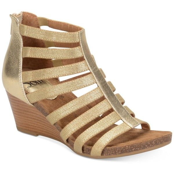 Sofft Mati Wedge Sandals ($100) ❤ liked on Polyvore featuring shoes, sandals, rich gold, gladiator wedge sandals, gold strap sandals, caged wedge sandals, gold strappy sandals and cage sandals