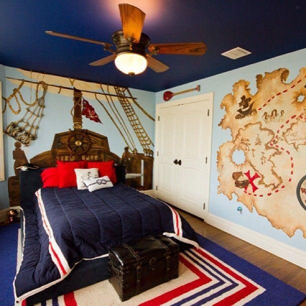 Pirate themed bedroom. #blue #boysroom #boys ##decor #design #fun #follow #homedecor #homedesign #kids #kidsdecor #kidsdesign #igdaily #instahub #instadads #instagood #instahome #instakids #instamoms #instadecor #instadesign #instafollow #instafollwers #instainteriors #interiordesign #pirate #picoftheday... - Home Decor For Kids And Interior Design Ideas for Children, Toddler Room Ideas For Boys And Girls