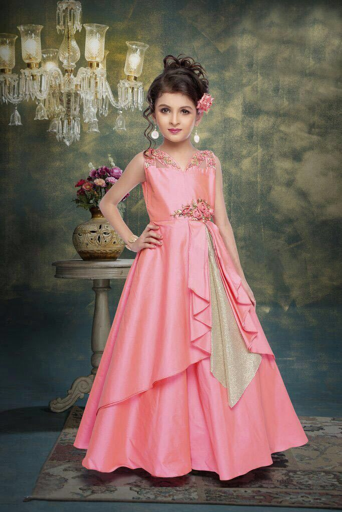 Baby Pink Princess Gown For Girls Wedding Special Dress With Stone Work  97009 76355a98af15