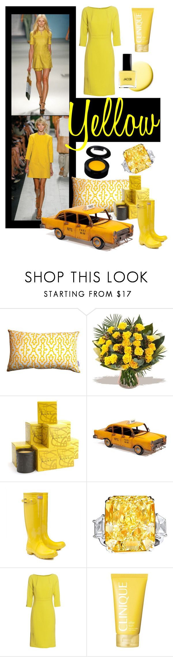 """""""YELLOW"""" by linefreh ❤ liked on Polyvore featuring Nicole Miller, TAXI, Hunter, THOMAS RATH, Clinique, women's clothing, women's fashion, women, female and woman"""