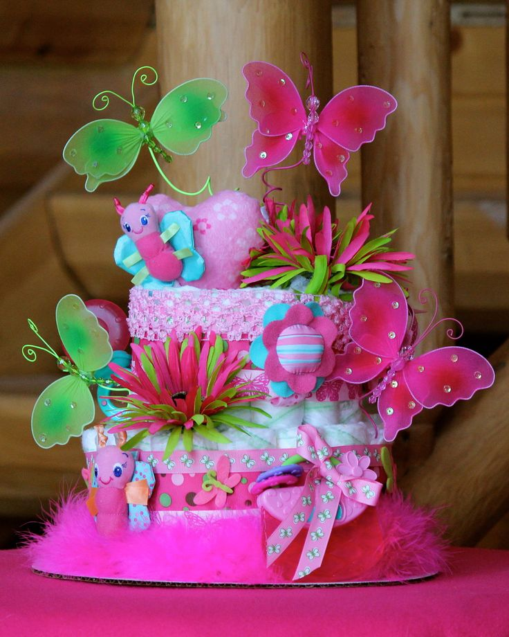 25 best ideas about butterfly diaper cake on pinterest for Baby shower butterfly decoration ideas