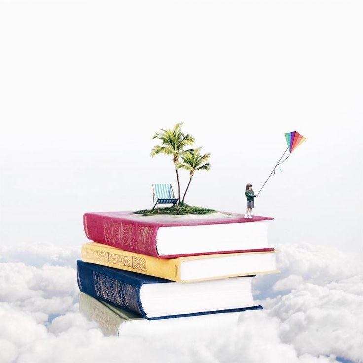 Livros nas nuvens. Foto manipulação de Luisa Azevedo